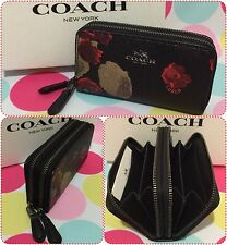 NEW COACH PVC HALF FLORAL SMALL Double Zip Coin/Card Case Black/Multi F56002 $95