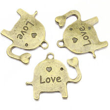 100pc VTG Bronze Letter Love Carved Elephant Charms Pendant Setting Cameo DIY BS