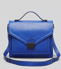LOEFFLER RANDALL $475 BLUE TUMBLED LEATHER MEDIUM RIDER BAG HANDBAG