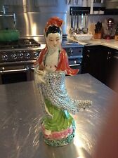 Antique Porcelain Chinese Famille Rose Kwan Yin Statue Figurine Asian Figure