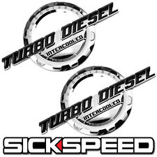 2 PC BLACK/CHROME TURBO DIESEL ENGINE MOTOR BADGE FOR TRUNK HOOD DOOR TAILGATE A