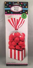 10 Striped Stripes Candy Buffet Sweet Treat Loot Party Supplies Favor Bags  RED