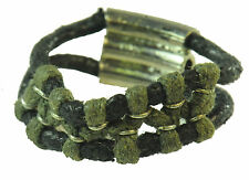 CASUAL COOL LADIES FUNKY BLACK/OLIVE GREEN STRING RING, SILVER TONE CLASP (ZX2)