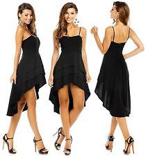 Vokuhila Kleid Bandeaukleid Trägerkleid Volant Faltenkleid Dress Abendkleid S-L