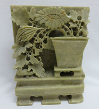 Vintage Hand Carved Chinese Soap Stone Flowers in Pot Sculpture