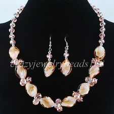 Pink Crystal Faceted Lampwork Glass Leaf Beads Necklace Earrings SET M960