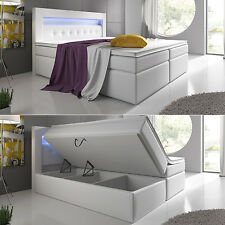 Boxspringbett 180x200 Weiß Bettkasten LED Kopflicht Hotelbett Bett Venedig Lift