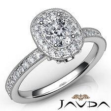 Cushion Cut Halo Pave Set Diamond Engagement Ring GIA H VS2 18k White Gold 1Ct