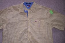 MENS XXL TOMMY HILFIGER YELLOW, BLUE, RED, WHITE PLAID, SHORT SLEEVE SHIRT-USE