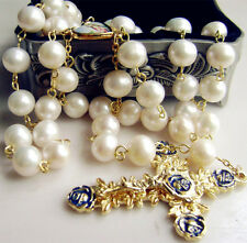 *(AAA 10MM) Real Pearl BEADS CATHOLIC GOLD ROSARY CROSS GIFT NECKLACE Supper BOX