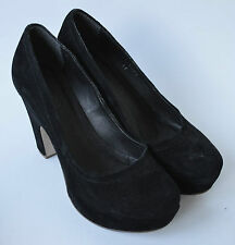 Ladies Schuh Black Suede Leather Shoes Size UK 4