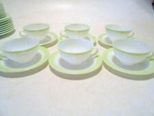 "6 Vintage PYREX LIME GREEN Band 8"" Milk GLASS Coffee CUPS & SAUCERS Excellent!"