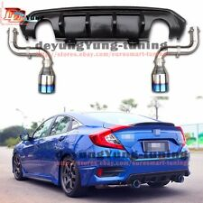 Upgrade Trubo RS Exhaust Muffler Tip + Bumper Lip Diffuser for Honda Civic 2016+