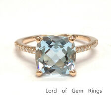 8mm Cushion Cut Blue Aquamarine Engagement Wedding Diamond Ring 14K Rose Gold 6#