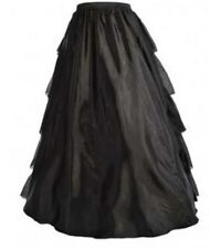 Plus Size Victorian Black Satin Multi-Layer Ruffle Long Skirt 3XL (16-18)
