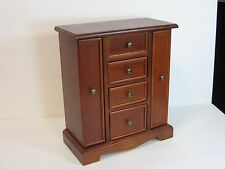 Wooden Jewelry Armoire Box Chest Mirror Storage Drawers Organizer Cabinet Walnut