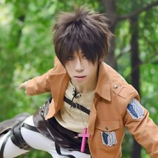 Hot!Attack on Titan Eren Jaeger Brown Short Cosplay Anime Wig + Free Wig Cap