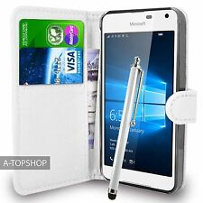 White Wallet Case PU Leather Book Cover For Nokia / Microsoft Lumia 650 Mobile