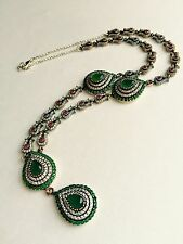 Turkish Handmade Necklace Jewelry Ottoman Emerald Ruby 925 Sterling Silver Y