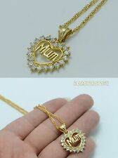 18k gold filled mum necklace pendant chain real crystals 18inch