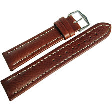 22mm Hirsch Buffalo Mens SHORT Brown Buffalo-Grain Leather Watch Band Strap