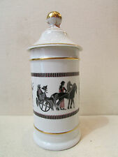 ancien pot a pharmacie en porcelaine blanche de limoges decor de spartiates