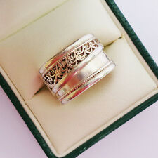 Filigree Silver Ring Scrolled Wide Band Adjustable Ring 12 mm