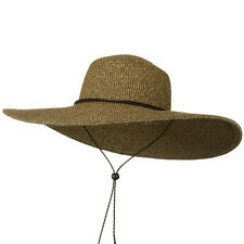 Womens Wide Brim Floppy Two Tone Brown Packable Sun Hat with Chin Cord