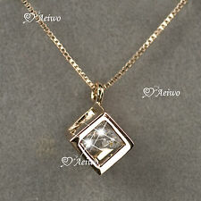 18K GOLD GF GENUINE SWAROVSKI CRYSTAL CUBE PENDANT NECKLACE SMALL