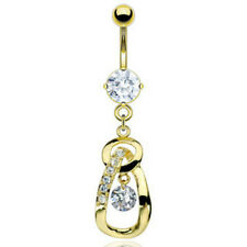Gold Plated Navel Gem Gold Plated Loop Dangle