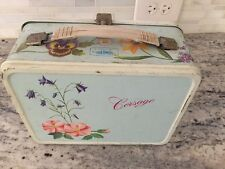 CORSAGE 1964 METAL LUNCHBOX LUNCH BOX BY KING-SEELEY THERMOS CO. FLOWERS FLORAL