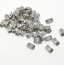 48 Milti 2 Strand Spacer Beads 10x5mm Fits 4-6mm Beads Antiqued Silver Cast Zinc