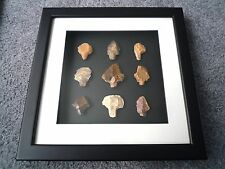 Paleolithic Arrowheads in 3D Picture Frame, Authentic Artifacts 70,000BC (T067)