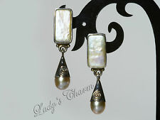 Sajen White Freshwater Pearl and Mother-of-Pearl EARRINGS Sterling Silver