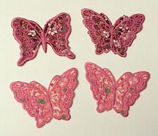 4x Pink floral fabric butterflies iron or sew on motifs/appliques/patches