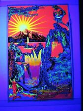 Vintage 1970 Psychedelic Blacklight Poster LAND OF THE WATERFALLS Very RARE