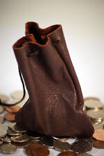 Medieval-Larp-Cosplay-Pagan-Money-Coin-Dice-BROWN LEATHER MONEY POUCH/BAG