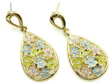 Gold Plated Crystal Daisy Earrings Flowers Pink Blue Green Enamel Daisies USA