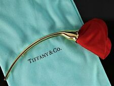 Tiffany 18K Yellow Gold Elsa Peretti Amapola Red Silk Brooch Pin Poppy Flower