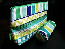 Clinique Green Cosmetics Pouch Makeup Bag Clutch + Coin Lipstick Purse Keychain