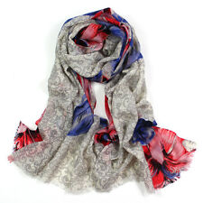 100% Pure Wool Woman's Pashmina Scarf Soft Wrap Stole Blue leaves flower Print