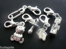 10 Baby Clip on Charms for Bracelets Footprint, Teddy, Dummy, Safety Pin, Blocks