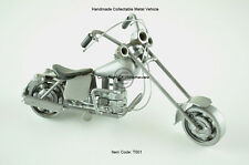 Harley Davidson Motorbike Model, Handcrafted Metal Collectable, Silver, T001