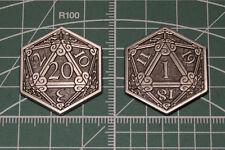 D&D Pass / Fail Coin Inspiration Token Silver D20 Metal Dice Dungeons & Dragons