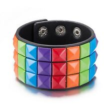 Unisex Gay Rainbow 3 Row Pyramid Studded Leather Wristband Bracelet