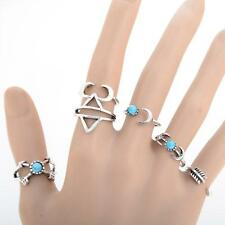 6Pcs/Set Silver Plated Boho Fashion Arrow Moon Midi Finger Knuckle Rings Jewelry