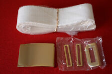 USMC US MARINE CORPS ENLISTED PARADE DRESS BLUES WHITE BELT & BUCKLE SET