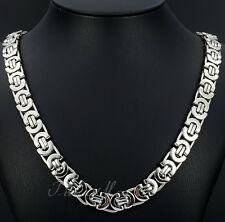 Lot 5pcs In bulk Stainless steel Flat Byzantine Chain Necklace Silver 8mm 24''