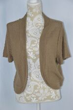 Maurices Womens Plus Size 2 2X Brown Beige Crochet Shrug Sweater Short Sleeve