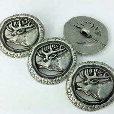 Silver Deer / stag  Buttons Metal Round 25mm Per 5 Great for Sewing